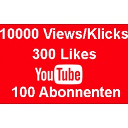 YOUTUBE PAKET 10000 KLICKS + 300 LIKES + 100 ABONNENTEN