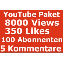 YOUTUBE PAKET 6000 KLICKS + 280 LIKES + 130 ABONNENTEN