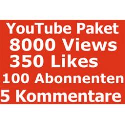 YOUTUBE PAKET 8000 KLICKS + 350 LIKES + 100 ABONNENTEN