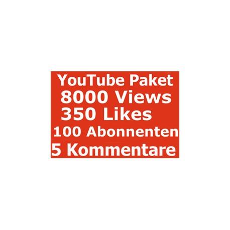 YOUTUBE PAKET 6000 KLICKS + 280 LIKES + 130 ABONNENTEN