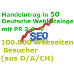 Professional entries in the best 50 German-language Web Directories PR 2-9  + 100,000 sites visitors (from D / A / CH)