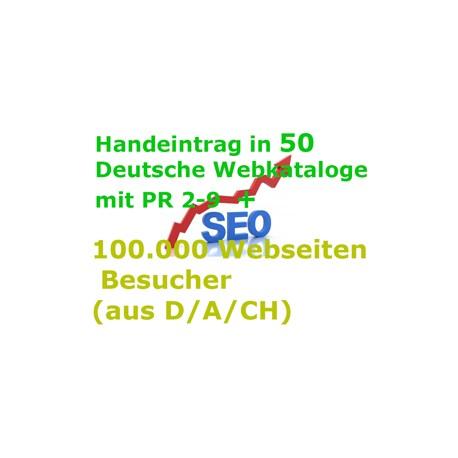 Handeintrag in 50 Deutsche Webkataloge mit PR 2-9 + 100.000 Webseiten Besucher