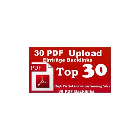 30 PDF Einträge Backlinks in die besten PDF Portalen PR9-4 SEO Linkaufbau