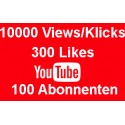 Youtube package 10000 VIEWS + 300 LIKES + 100 SUBSCRIBED