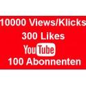 YOUTUBE PAKET 10000 KLICKS + 300 LIKES + 100 ABONNENTEN