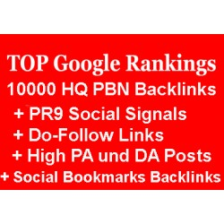 10.000 PBN Backlinks, + PR9 Social Signals, + Do-Follow Links, + High PA und DA Posts und Social Bookmarks Backlinks