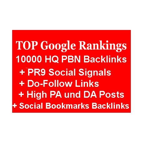 10.000 PBN Backlinks, + PR9 Social Signals, + Do-Follow Links, + High PA und DA Posts und Social Bookmarks Backlinks