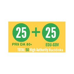 I will give you 25 High-Quality Backlinks from DA 80+ website and 25 from .EDU or GOV websites.