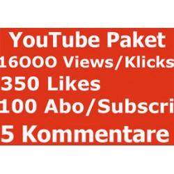 YOUTUBE PAKET 16000 KLICKS + 350 LIKES + 100 ABONNENTEN + 5 Kommentare