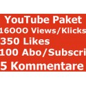 Youtube package 16000 VIEWS + 350 LIKES + 100 SUBSCRIBED + 5 commemt