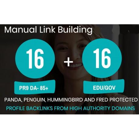 We will submit 16 PR9 + 16 EDU/GOV High PR Backlinks