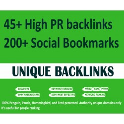 45 High PR backlinks + 200 Social Bookmarks