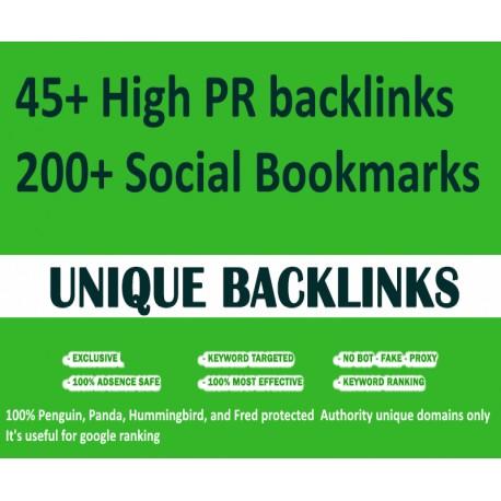 Top HQ 45 High PR backlinks + 200 Social Bookmarks