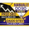 MANUALLY Do 90 UNIQUE PR10 SEO Backlinks on DA100 sites Plus Edu Links