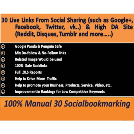 Instant Buy 30 live Manually Social Bookmarking links