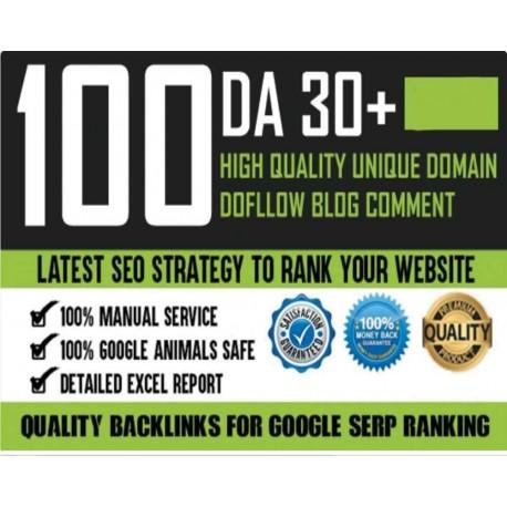 100 Do-Follow Unique Domain DA 30+ Parmanent Blog Comment Backlinks